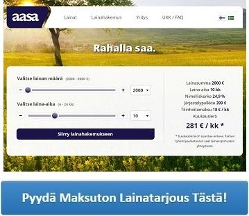 Aasa.fi - Nopeaa ja edullista lainaa netistä!
