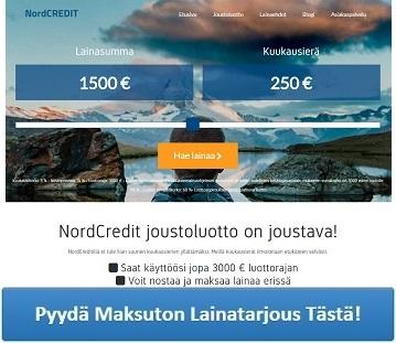 NordCREDIT.fi - Joustavaa lainaa sopivilla kuukausierillä!