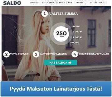 Saldo.com - Nopeaa lainaa heti tilille!