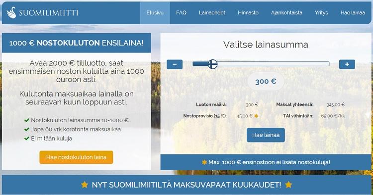 Suomilimiitti.fi - Koroton 1000 euron ensilaina!
