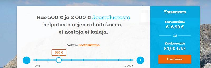 Saldo jatkuva 500 tai 2000 euron tililuotto.
