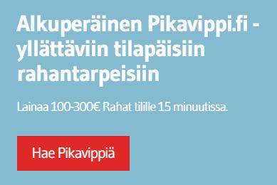 Pikavippi lainaa 100, 200 tai 300 euroa.