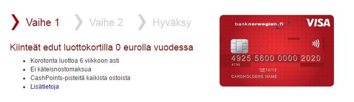 Bank Norwegian luottokorttihakemuksen löydät täältä.