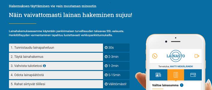 Lainasto.fi Hakemus löytyy täältä.