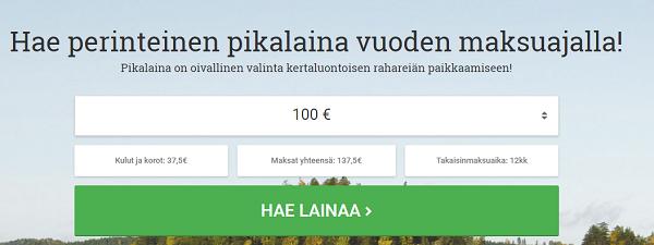 Lainasto.fi Pikalainahakemus löytyy täältä.
