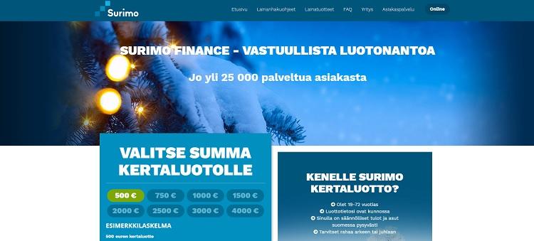 Surimo.fi | Edullinen kulutusluotto 500 - 4000 euroa