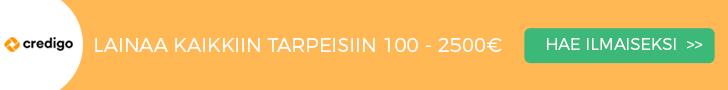 Credigo lainaa heti 100 - 2500 euroa.