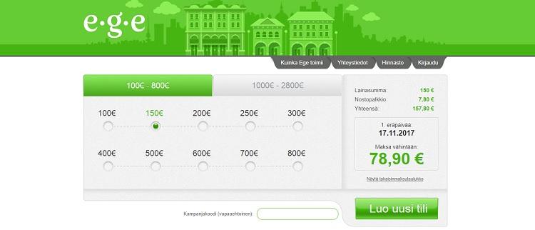 Ege lainaa ilman takaajia jopa 2800 euroa.