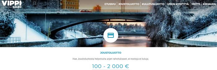Vippi.fi joustoluottoa 500 tai 2000 euroa jatkuvaan käyttöösi.