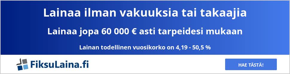 FiksuLaina.fi lainaa tarpeidesi mukaan.