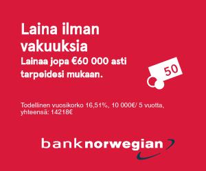 Hae edullista pankkilainaa Bank Norwegian pankista