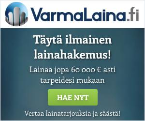 Hae lainaa https://www.suomenlainapalvelut.fi/wp-content/uploads/2018/01/VarmaLaina-bannerit-300x250.jpgarmaLaina.fi palvelusta